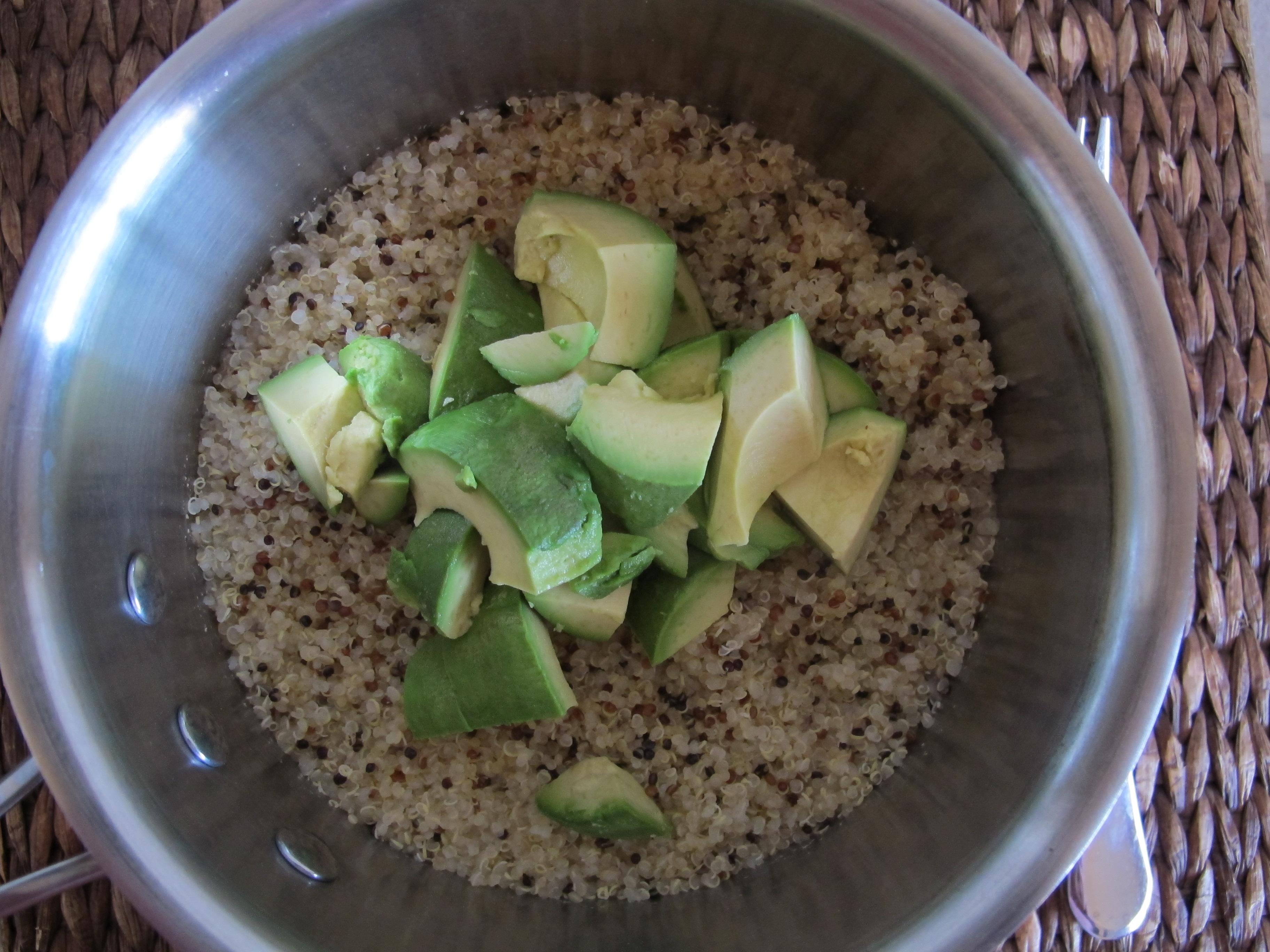 Sweet Potato and Pinto Bean Skillet with Avocado Quinoa Mash